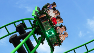 The Green Lantern ride was 'delayed' according to a Movie World spokeswoman, trapping passengers for about 30 minutes.