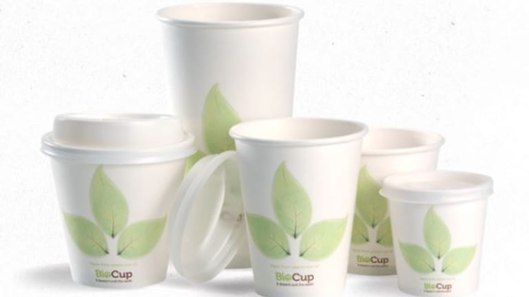 BioPak's leaf cups are made with paper coated with Ingeo bioplastic
