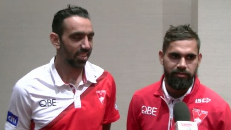 Adam Goodes and Lewis Jetta spoke to the Sydney Swans' website on Sunday night.