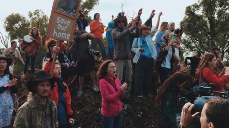 Protesters at the Beeliar wetlands.