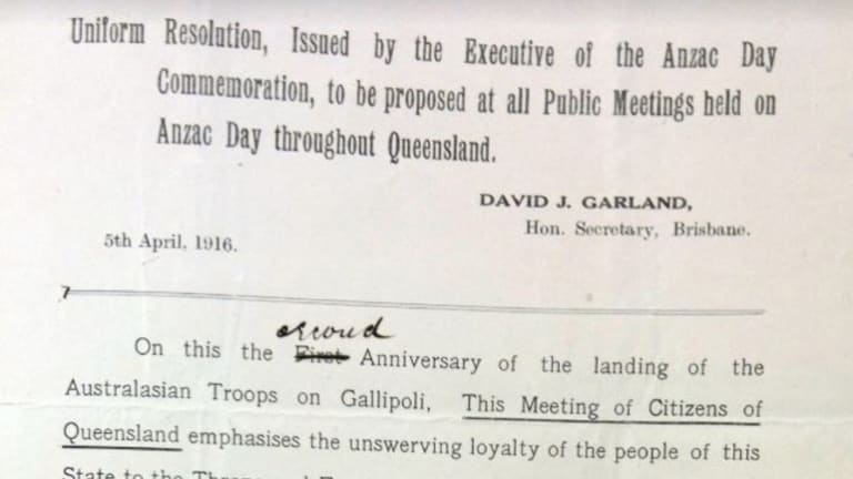 Part of Canon Garland's resolution to commemorate Anzac Day on April 25, made in 1916.