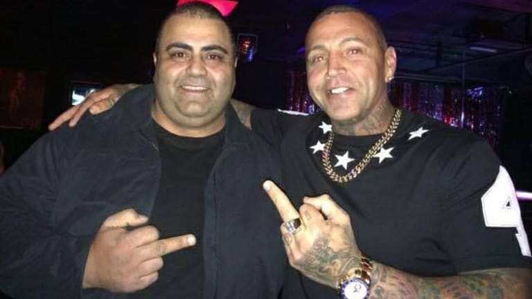Shooting victim Khaled Abouhasna (left) with former Bandido bikie Toby Mitchell.