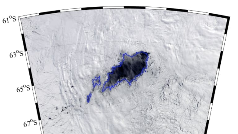 A close-up of the Maud Rise or Weddell Sea Polynya east of the Antarctic Peninsula.