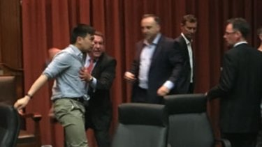 An image from the Maribyrnong City Council meeting which erupted into a brawl over Yarraville parking meters.