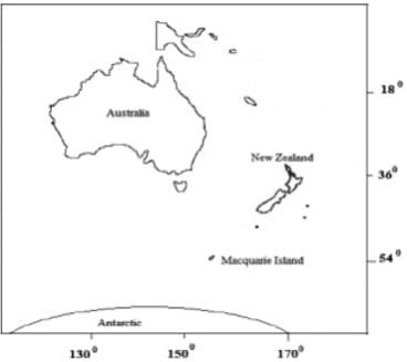 Macquarie Island sits halfway between New Zealand and Antarctica.