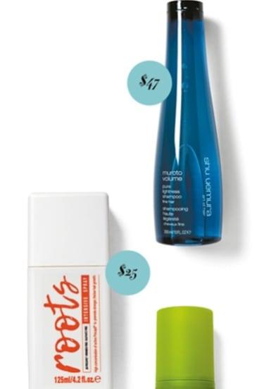 Shu Uemura Muroto Volume, $47. Roots Intensive Spray, $25. Plantur 39 Phyto-Caffeine Tonic, $18.50.