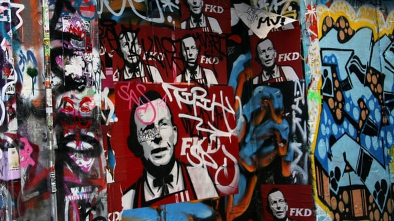 Defacement: Graffiti, electronic or otherwise, has not always been kind to Prime Minister Tony Abbott.
