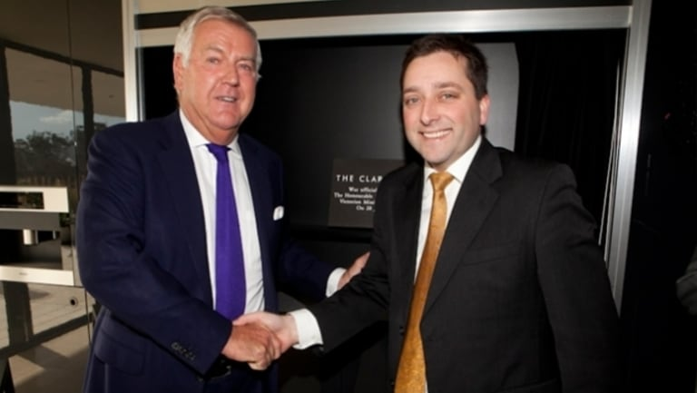 Matthew Guy (right) with developer Michael Yates in 2012 at the opening of an apartment project in South Yarra.