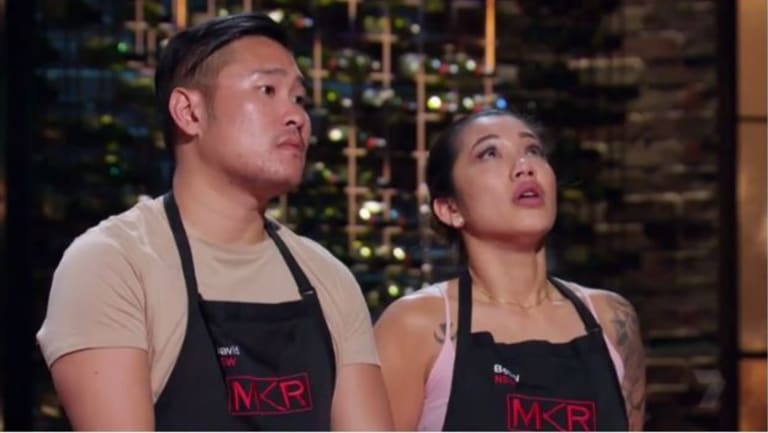 David Vu and his friend Betty Banks during the My Kitchen Rules finals.