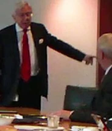 A still from the video of the fiery showdown in the NewSat boardroom.