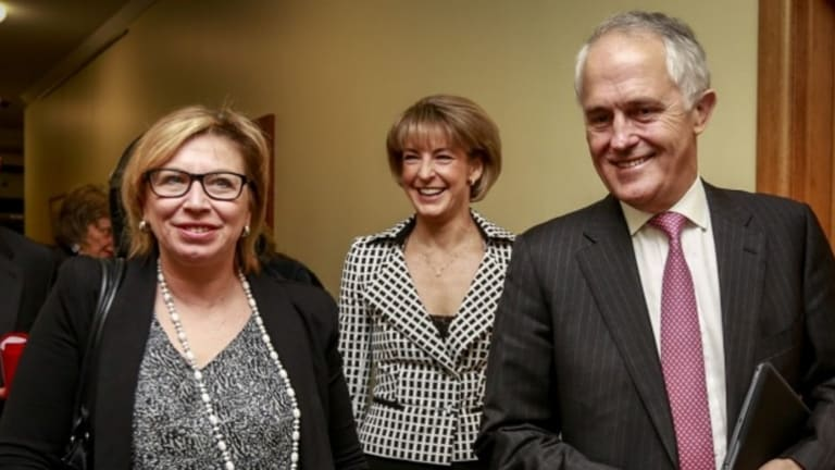 Prime Minister Malcolm Turnbull, pictured with domestic violence campaigner Rosie Patty and Minister for Women Michaelia Cash, has declared domestic violence a national priority.