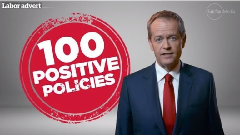 "The Labor Party's first election ad has emphasised its ""positive"" policies."