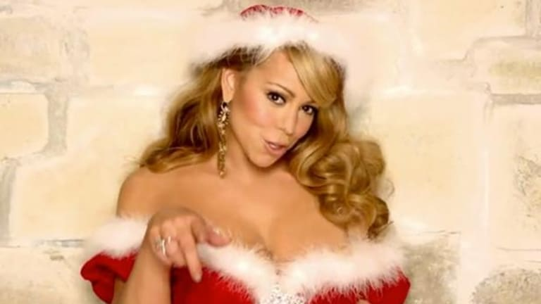 Mariah Carey in the film clip for <i>All I Want For Christmas Is You</i>.