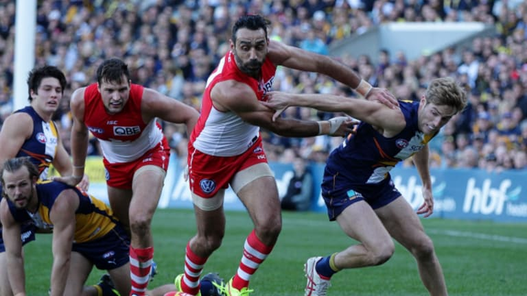 Subjected to abuse: Adam Goodes in action against West Coast.