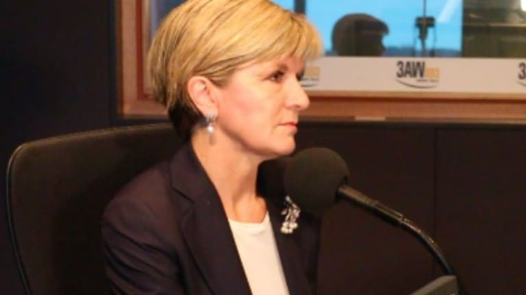 Julie Bishop speaking to 3AW's Neil Mitchell on Tuesday.