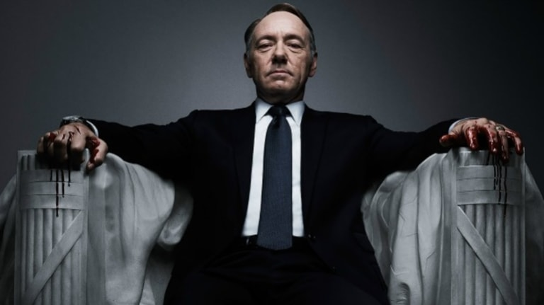 Kevin Spacey as politician Frank Underwood in House of Cards.