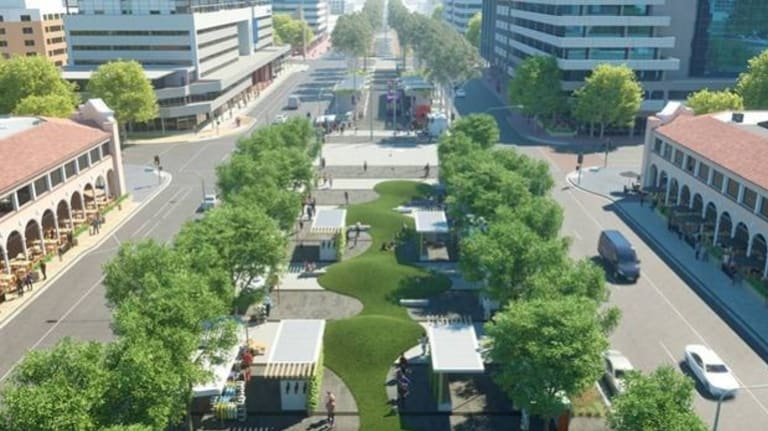 An artist's example of one of the possibilities for the new Civic Plaza space.