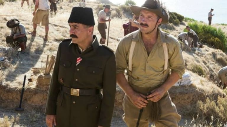 Yilmaz Erdogan and Jai Courtney in The Water Diviner.