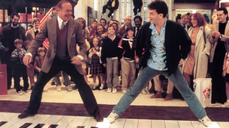 Robert Loggia and Tom Hanks in a scene from Penny Marshall's <i>Big</i>.