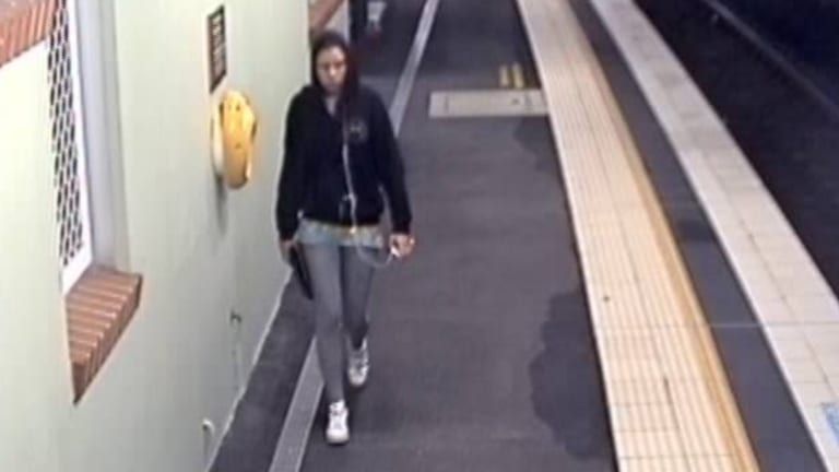 CCTV footage shows Cassie Olczak on the platform at Waterfall railway station on Sunday night.