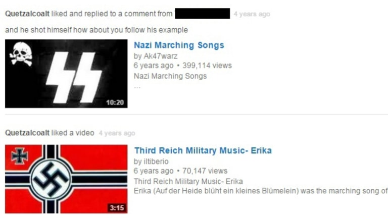 Vincent Stanford 'liked' clips of Nazi marching songs and other Third Reich military music.