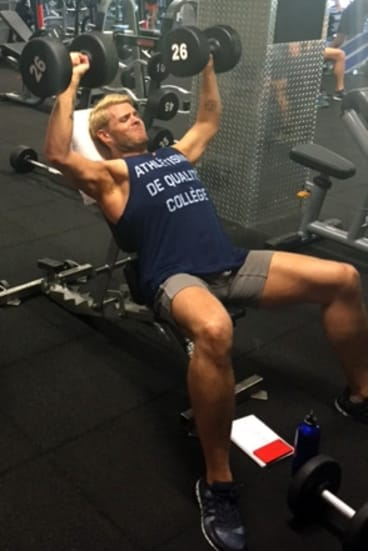 Working out: Scoopla's Justin Hill hits the gym for Mardi Gras.