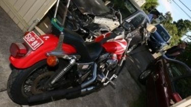 One of the motorcycles seized.
