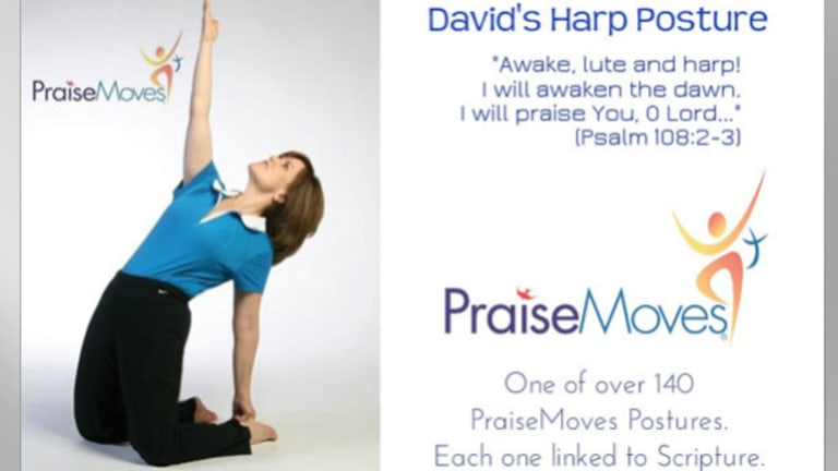 One of the postures practised in PraiseMoves, a Christian alternative to yoga.