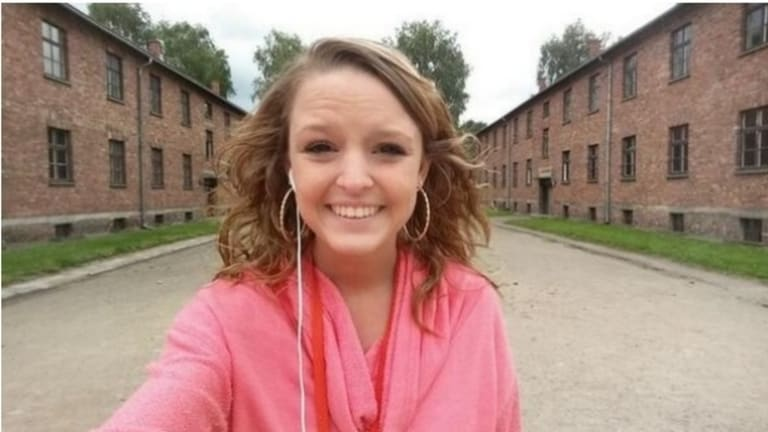 Poor taste: American teenager Breanna Mitchell tweeted a smiling selfie at Auschwitz.