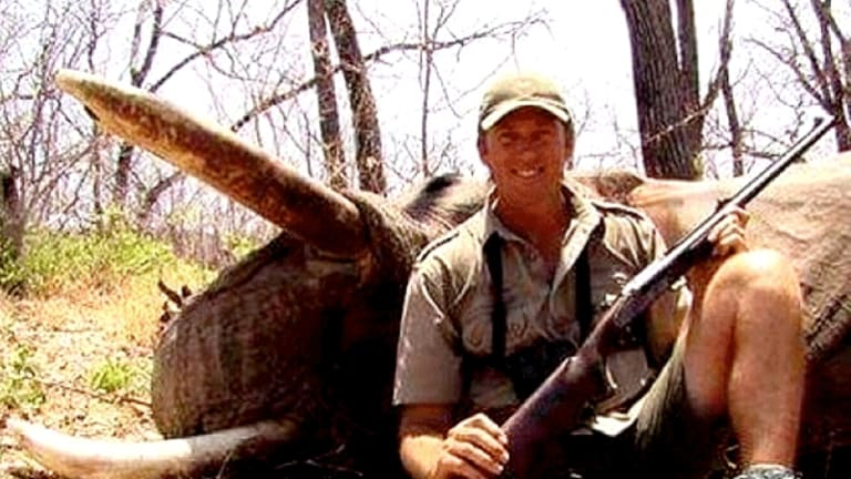 Not a sport: The photo of Glenn McGrath with a dead elephant that created the controversy.