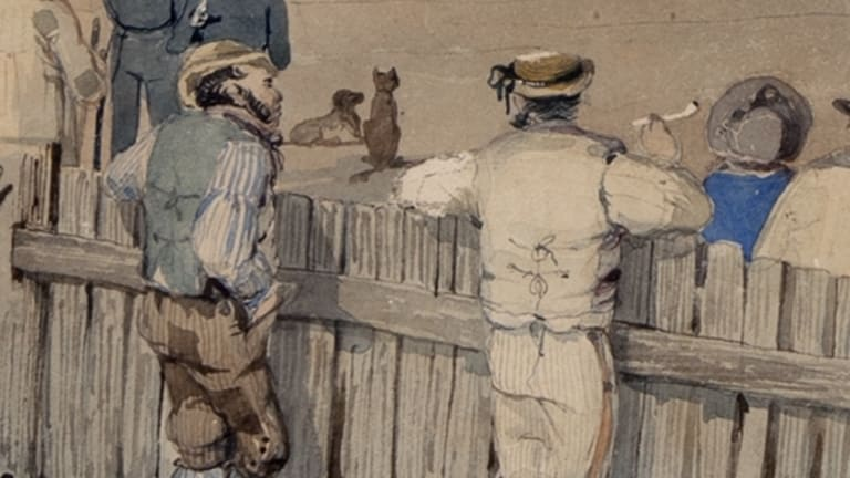 Detail from S.T. Gill painting 'Sturt's overland expedition leaving Adelaide' which academic Babette Smith says depicts a convict, left, talking to an artist.