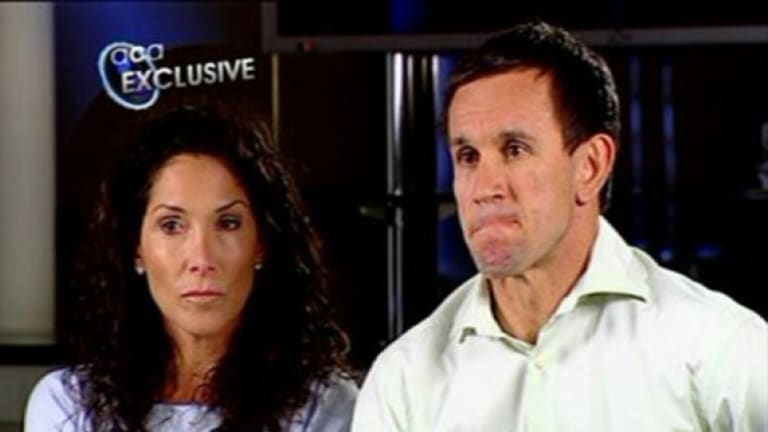 'I did not commit an act of abuse' ... Matthew Johns and wife Trish on ACA in 2009.