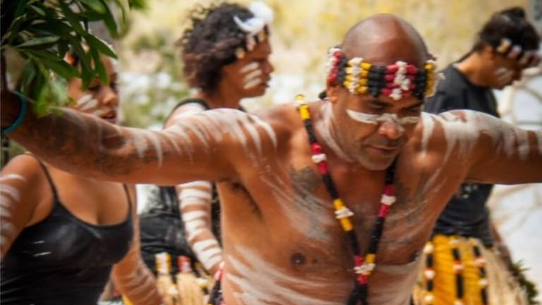 Yuliburri-ba Dance Group at North Stradbroke Island's Brown Lake.
