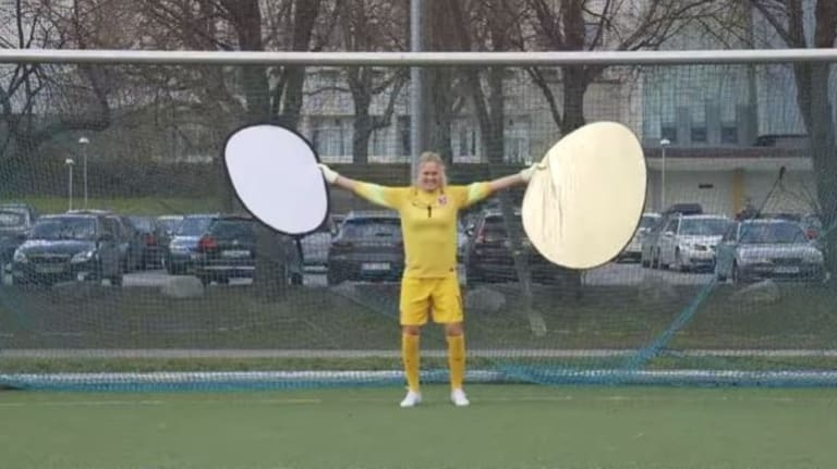 The goals can be too big for Ignrid Hjelmseth to guard, so she's come up with some gadgets to help.