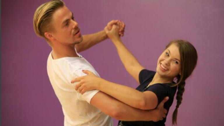 Bindi Irwin poses with instructor and partner Derek Hough.