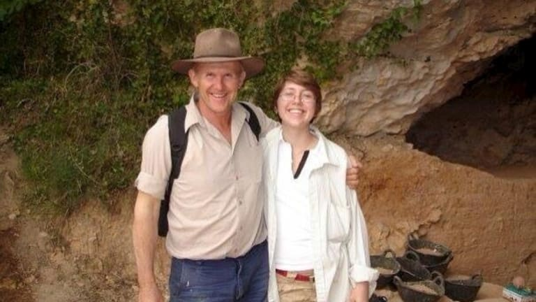 """Elen Feuerriegel with her dad Robert Stumm. She was 21 when he skipped work to take her to Spain on her first dig. """"I'd never been overseas on my own before and he was like, alright, I'll go with you. And he dropped work and just went with me."""""""
