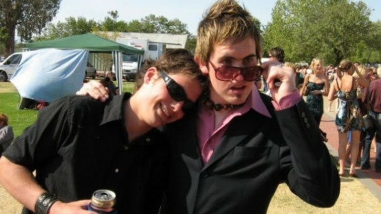 Adam Golding, 18, with his friend Rob Glew, 17, at the Wodonga Races in 2004.