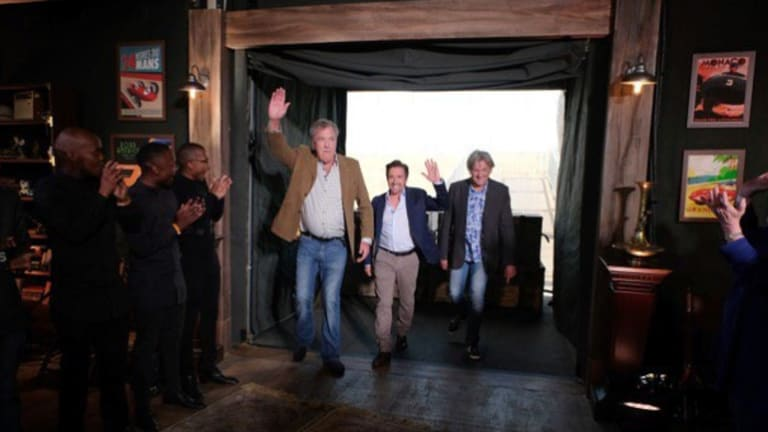 The former <i>Top Gear</i> hosts Jeremy Clarkson, Richard Hammond and James May were jubilant after filming their new show's first episode