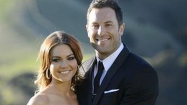 Second time lucky: Sam Frost and Sasha Mielczarek in <i>The Bachelorette Australia</i> 2015 finale.