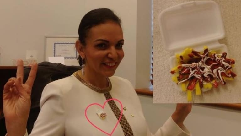 Dr Anne Aly, the new Federal Member for Cowan, wears the Halal Snack Pack proudly.