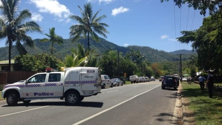 Police at the scene of the Cairns stabbing.