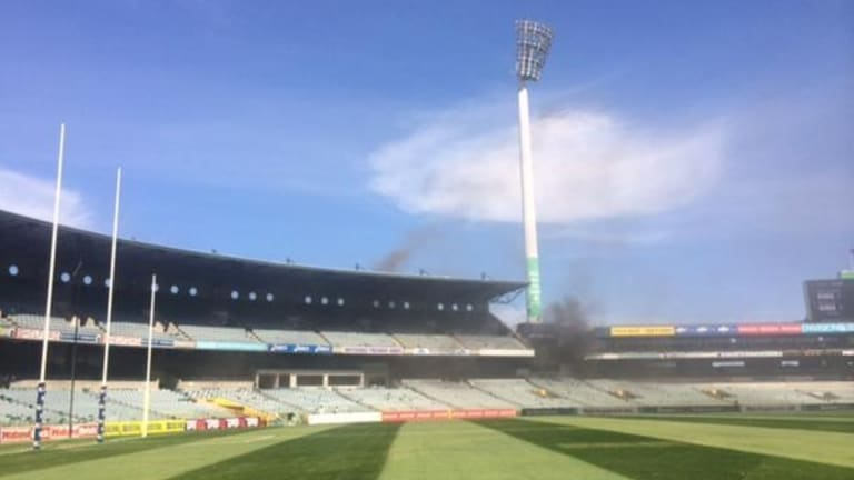 The fire at Domain Stadium is said to have started in a kitchen area.
