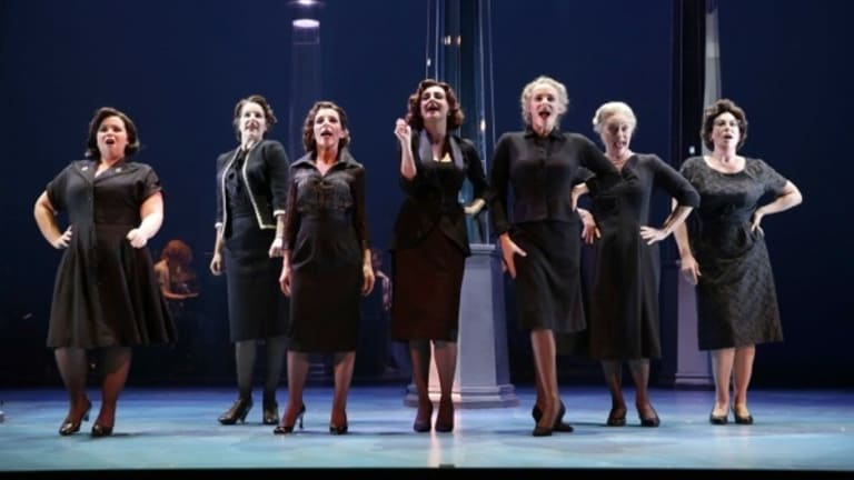 The ladies of the fictional Goodes department store in full-flight.