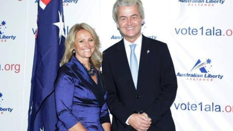 The ALA's NSW Senate candidate Kirralie Smith with Dutch anti-immigration politician Geert Wilders.