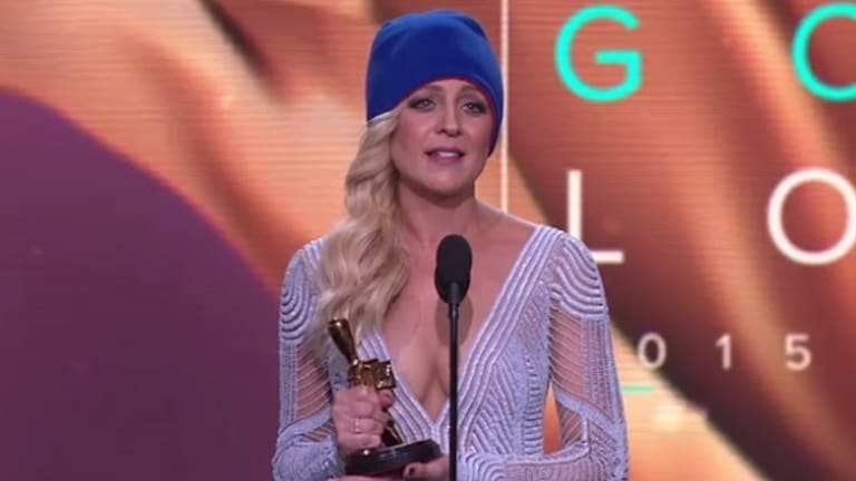 Gold Logie winner: <i>The Project</i>'s Carrie Bickmore used her time on the podium to draw attention to brain cancer research.