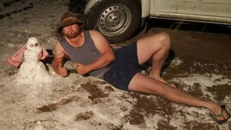 Some residents had fun during last month's snowfalls in southern Queensland's Granite Belt.