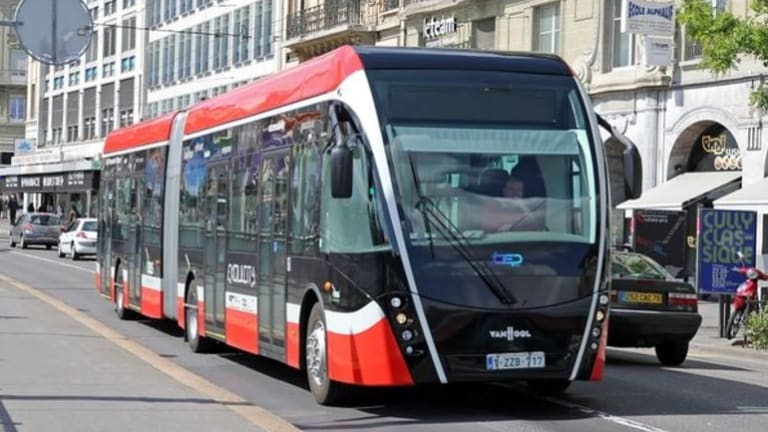Cleaner than a bus and cheaper than light rail, track-free trams, like the one pictured above, could be shuttling passengers along Parramatta Road within the next five years.