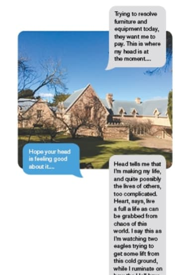 More text exchanges between the writer and the man included photos of the NSW Southern Highlands property the man claimed to be buying.