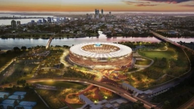 The new Perth stadium with the new imaginative name: Perth Stadium.