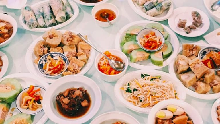 Tết feast at the Nguyen house.